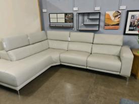 New luxury Genuine leather Corner sofa power recliner