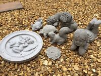 Various concrete garden ornaments for sale all new. Buddhas plaques animals