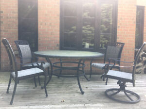 PATIO DINING SET- TABLE, CHAIRS, SIDE TABLE AND FOOT RESTS