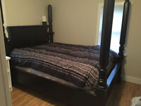 Beautiful rustic 4 post canopy queensize bed frame  1 of a kind