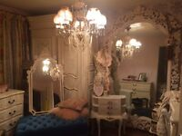 Tall free standing French Louis Armoire carved bevelled mirror white