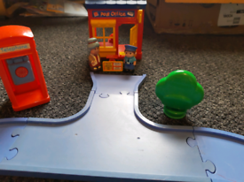 Happyland post office, phone box, 2 X figures and track.