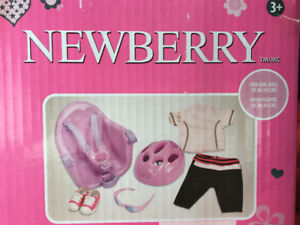 "NEWBERRY BICYCLE CLOTHING SET FOR 18"" DOLLS BRAND NEW SEALED"
