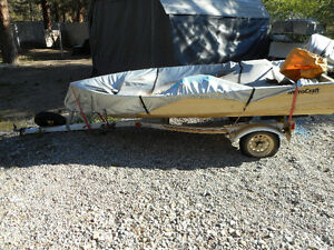 12 foot Aluminum fishing boat , motor and trailer