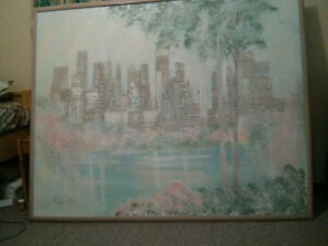 NEW Large Beautiful Canvas Painting - City Skyline from the Lake