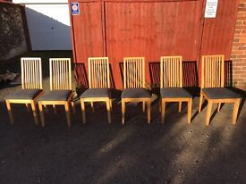 6 Slat back solid wood chairs