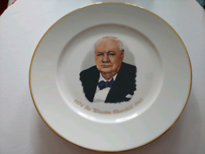 Antique Winston Churchill plate in case