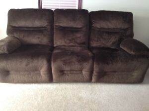 Power recliner brown couch