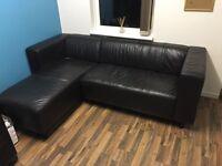 3 Seater Dark Brown Corner Leather Sofa..