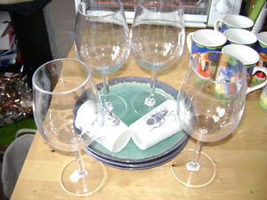 Patio sandwich plates, wine glasses for 4 plus 2 candle holders