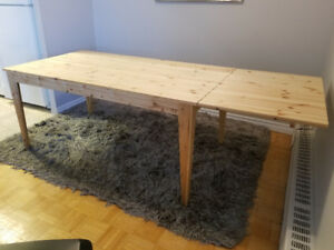 SALE!  Rare Ikea Pine Wood Drop Leaf Dining Table - Extendable