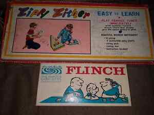 Vintage Zippy Zither Instrument & Vintage Flinch Card Game