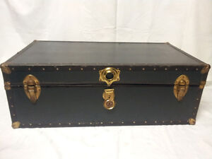 Flat Steamer Black Trunk / Chest / Luggage