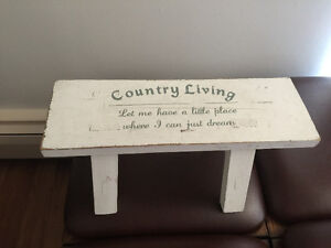 Antiqued coat hanger and matching bench