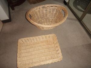 wicker basket  23 x 17 and wicker tray like basket 20x14-10.00