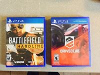 Battlefield Hardline and driveclub ps4 barely played