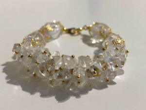 Hand made bracelets with genuine white quartz