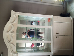 White ivory dining table, chairs and china cabinet