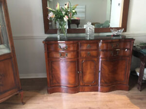 Antique Drexel Curved Buffet and Glass Corner Cabinet