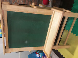 LARGE WOODEN EASEL 2 SIDED WITH PAPER HOLDER IN MIDDLE USED