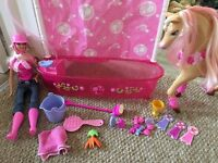 Barbie with shower and show horse