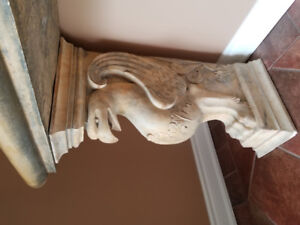 Custom Stone Work - Fireplace Mantel, Table, an Picture