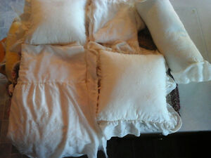 queen size bedskirt, matching pillows and shams and valance