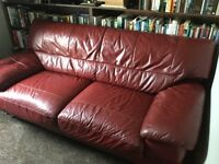 Morden red leather 3 seater