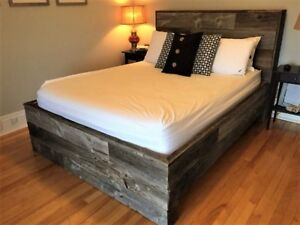 Hand Crafted Queen Size Barn Wood Headboard & Bed Frame Combo!