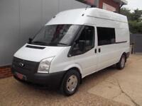£ 39 A WEEK - 2013 FORD TRANSIT 2.2 LWB HI ROOF 6 SEAT CREW / MESS VAN 125HP