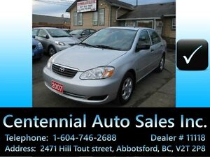 2007 Toyota Corolla SE, Auto moonroof pwr window A/C only 88~km!
