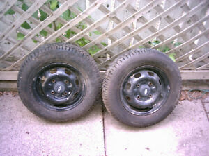 Pair of Studded 145/80-12 Winter Tires on Metro/Sprint Rims