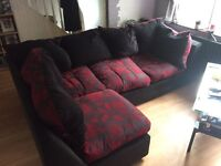 Black and red corner sofa (PRICE DROP)