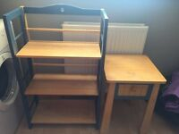 Blue shelves and bedside table