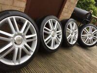 "Genuine Audi A3 S3 18"" S Line Alloy Wheels & 225/40/18 Tyres 5x112 VW Seat"
