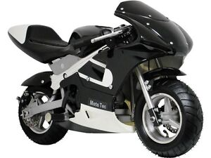 MotoTec Gas Pocket Bike - Black - Mini Motorcycle (Ride on) For Ages 13+
