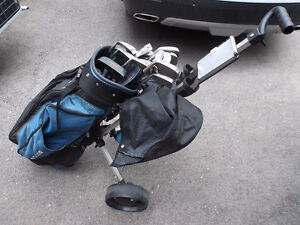 Golf complete iron set with bag and pull cart