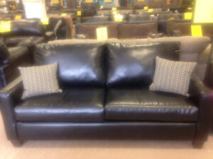 Black leather sofa AND loveseat [brand new, factory-sealed]
