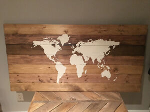 Map of the world painted on pine wood planks!! Rustic art