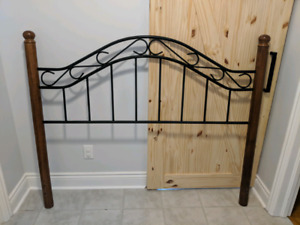 Solid Wood & Cast Iron Queen Bed Frame