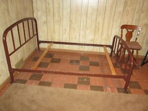 ANTIQUE IRON BED FRAME WITH RAILS