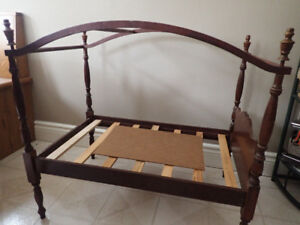 "Vintage Wooden Canopy Doll Bed 30"" Long X 28"" high UNIQUE"
