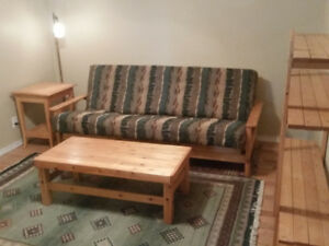5 Pc. Solid Pine Frame Futon Couch Set