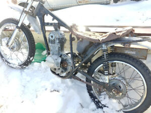 pair of 1970s Honda parts bikes engine frame