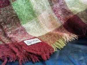 Vintage GLEN CREE Scotland 100% Mohair Plaid Throw Blanket