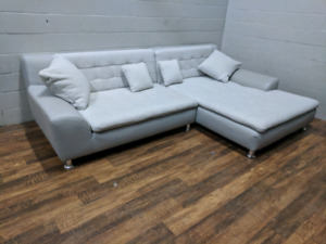 (Free Delivery) - Modern large grey sectional sofa