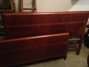Antique, double bed, headboard and footboard