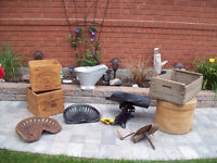 Antique CRATES, Cheese Box,3 Tractor Seat, Coal skuttle, Scale +
