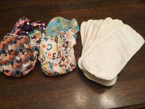 KaWaii Baby bamboo cloth pocket diapers with liners