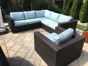 Outdoor Wicker Sectional and Chair